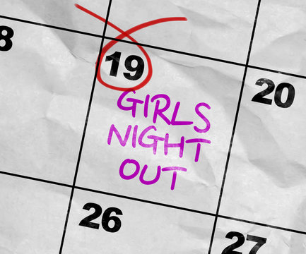 Concept image of a Calendar with the text: Girls Night Out