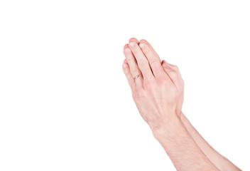 Hands praying man