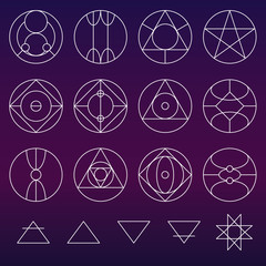 Alchemy symbols collection vector set, thin line (variable line)
