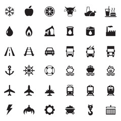 Set vector web icons, transport, petroleum, auto, travel, sea, aviation and industrial icons, vector icons for your design project or presentation, black icons