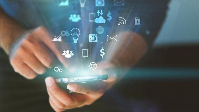 Businessman using mobile smart phone.Social media concept.