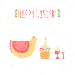Cute card for Easter with chicken, cakes and eggs