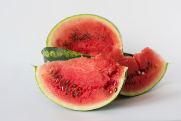 Melon, watermelon sliced on a white background, vegetarian food, fruits, vegetables, organic, healthy lifestyle