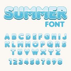 Sea stylish font. Vector.