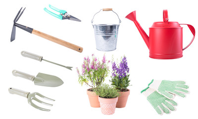 Garden tools collection set isolated