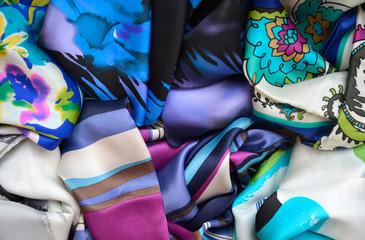 Motley silk kerchiefs in a mess