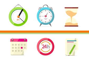 Time Design Flat Concept Clock and Calendar