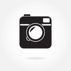 Photo camera icon or sign isolated on white background. Vector illustration in hipster style.