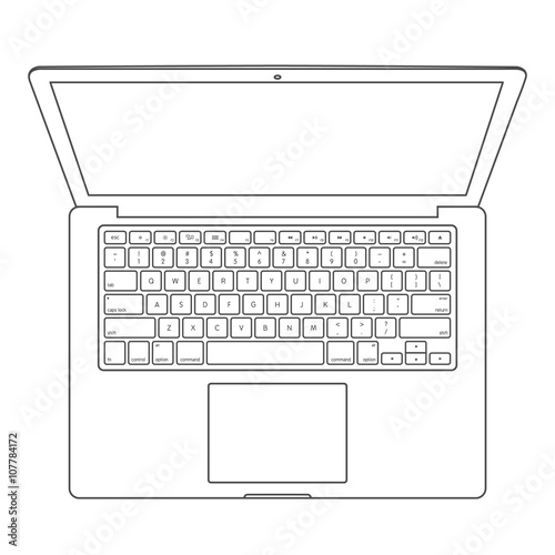 Pleasing Top View Of Laptop Computer With Keyboard Layout Template Vector Wiring Cloud Hisonuggs Outletorg