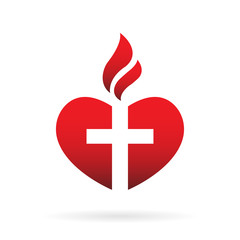 Template logo for churches and Christian organizations cross on the heart. Cross on the heart church logo