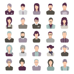 set of vector icons. people. isolated