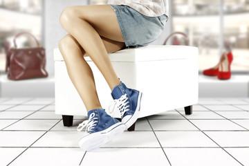 woman legs in shop