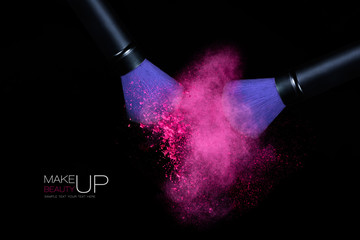 Color Explosion with Makeup Brushes Applying Powder. Isolated on
