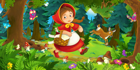Cartoon scene on a happy girl walking through the forest - illustration for children