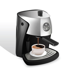 coffee machine and cup of coffee for your design