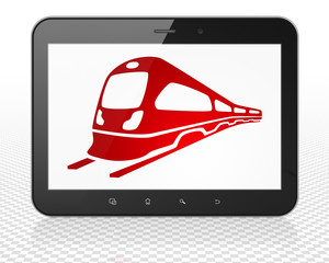 Tourism concept: Tablet Pc Computer with Train on display