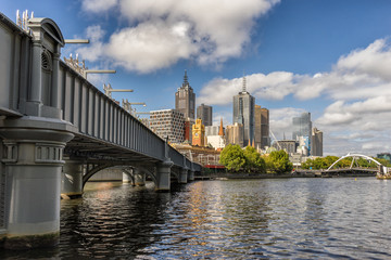 Looking towards Melbourne from Queens bridge on the Yarra River