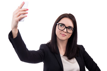 young business woman taking selfie photo with smart phone isolat
