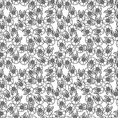 Flower seamless pattern on the white background