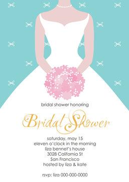 Bridal shower invitation card template. Wedding illustration