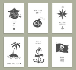 Set of six creative cards. Marine theme & tattoo. Pirate. Ocean.Skull. Anchor. Vector illustration in doodle style.