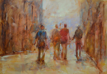 Walking peoples handmade painting