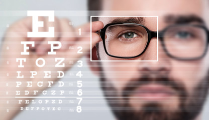 Male face and eye chart Wall mural