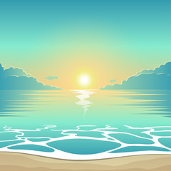 Vector summer background illustration beach at sunset with waves and clouds, seaside view poster