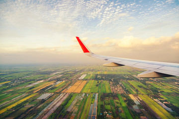 high angle view of pathum thani city of thailand on the air plan