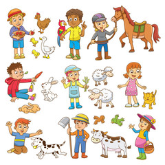 child and pet cartoon