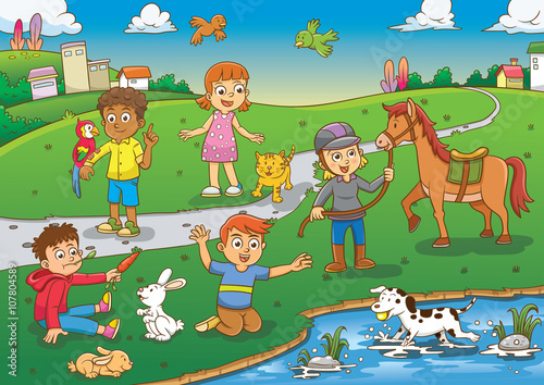 """child and pet in the park cartoon"""" stock image and royalty-free"""