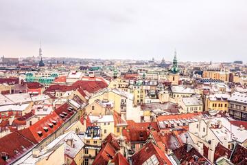 Aerial view of Prague in winter