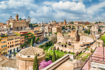 Wall Mural - Aerial view of Rome city centre from the Palatine Hill