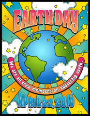 Earth Day poster banner design in 1960s psychedelic style