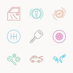 Car key, repair tools and manual gearbox icons.