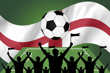 silhouettes of Soccer fans and flag of england