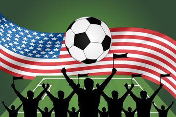 silhouettes of Soccer fans and flag of usa