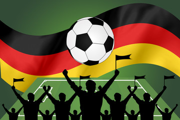 silhouettes of Soccer fans and flag of germany