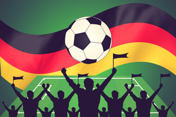 silhouettes of Soccer fans and flag of germany vintage color