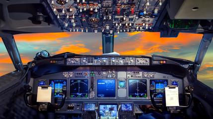 cockpit Flight Deck sunset Wall mural