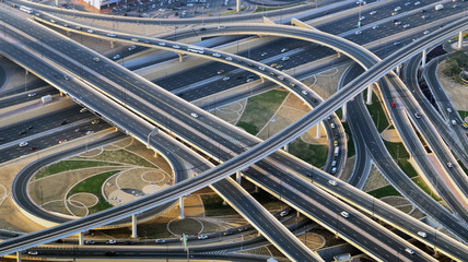 Top view of highway city traffic