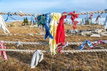 Colorful cloths at Medicine Wheel