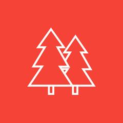 Pine trees line icon.