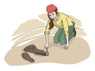 Girl Archaeologist Discovering Fossil. Cartoon illustration