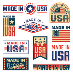 Made in America (USA) – set of different labels, badges, stamps.