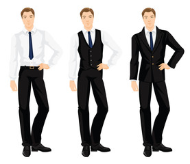 Vector illustration of corporate dress code. Young man in formal black shoes, white shirt, black pants and black vest. Base wardrobe.