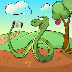 Cute green snake makes selfie.