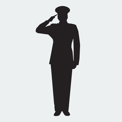 Illustrated Army general silhouette with hand gesture saluting. Vector