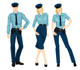 Vector illustration of beautiful blonde policewoman and young police man in formal clothes isolated on white background.