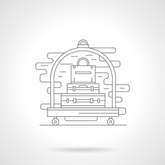Luggage trolley detail line icon